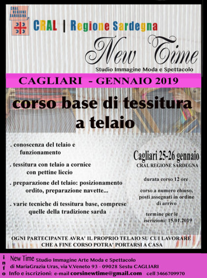Sardegna corsi di formazione tessitura a telaio Cagliari 2019